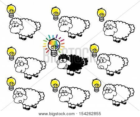 inventive concept with different black sheep and colorful good idea