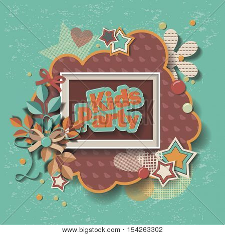 framework for invitation or congratulation. scrapbook elements. Design template for you text. Kids Party