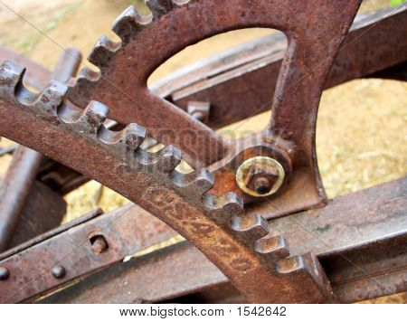 Gears And Levers On Old Farm Plow
