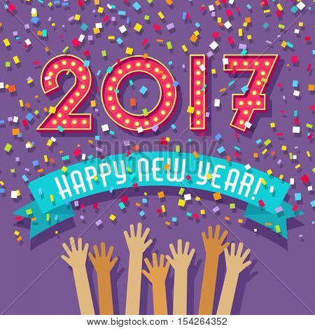 Happy New Year card with light bulb marquee 2017 and confetti falling.