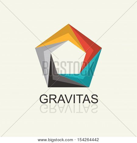 Colored volumetric Pentagon Abstract Icon. Vector template for the logo, emblem