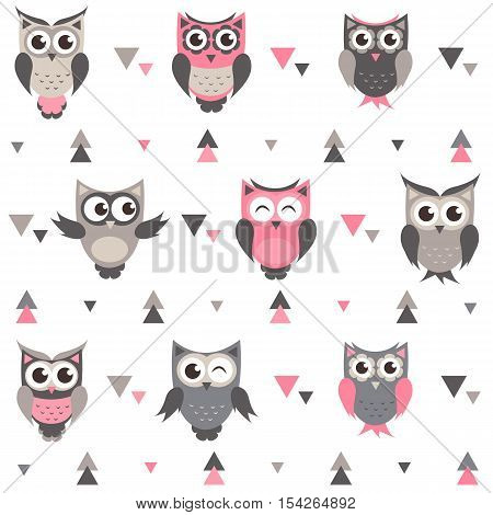 Background with cute owls, owlets and triangles