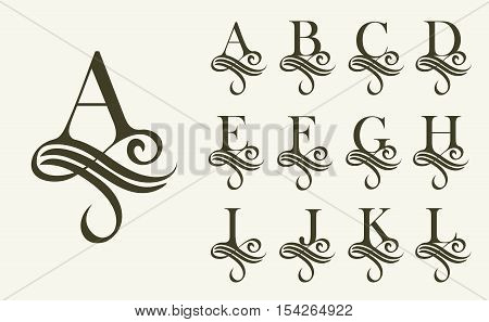 Vintage Set1 . Capital Letter for Monograms and Logos. Beautiful Filigree Font. Victorian Style. poster