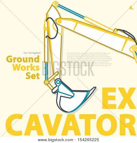 Outlined typography set of ground works machines vehicles, excavator. Construction equipment for building. Construction machinery. Truck, digger, crane, forklift, master vector illustration.