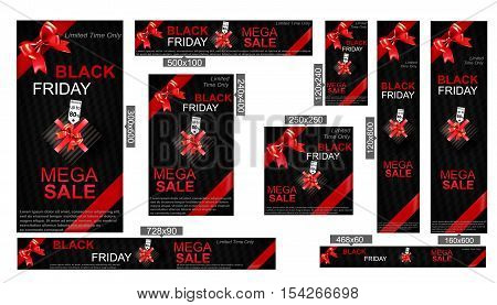 Black Friday Sale. Banner for the sale ads with realistic gift boxes and diamond, bows and ribbons. Web banners