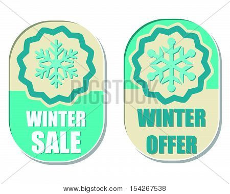 winter sale and offer with snowflake sign banners, two elliptic flat design labels with symbol, business seasonal shopping concept, vector