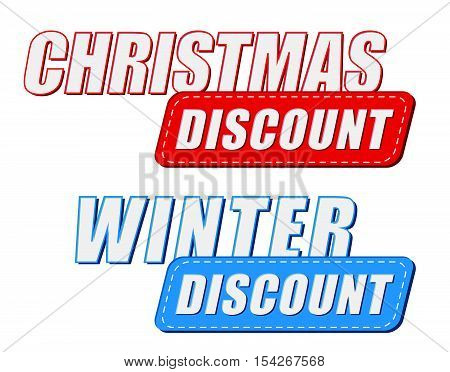 christmas and winter discount in two colors labels, business holiday shopping concept, flat design, vector