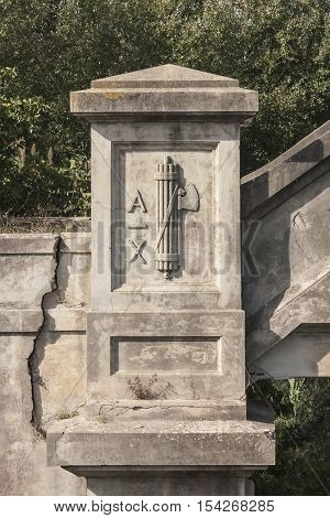 Fascist symbol was on an old bridge built by Benito Mussolini