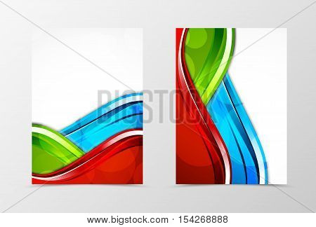 Front and back dynamic wave flyer template design. Abstract template with green, blue and red lines and transparent circles in digital style. Vector illustration