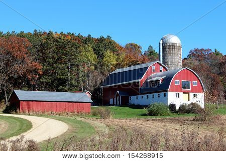 A well maintained barn on a Wisconsin dairy farm in Autumn.