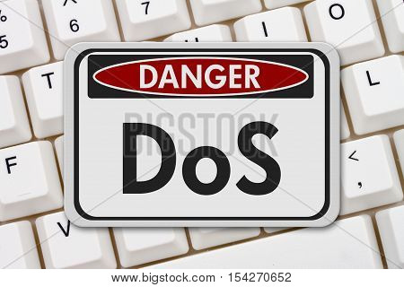Denial of service danger sign A white danger hanging sign with text DoS on a keyboard 3D Illustration