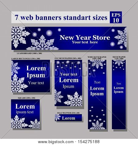 set of New Year Web banners standart sizes. Vector Web banners set: horizontal leaderboards, vertical skyscrapers, squares, buttons, etc.
