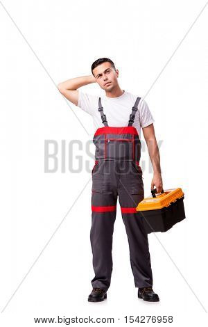 Tired repairman isolated on white