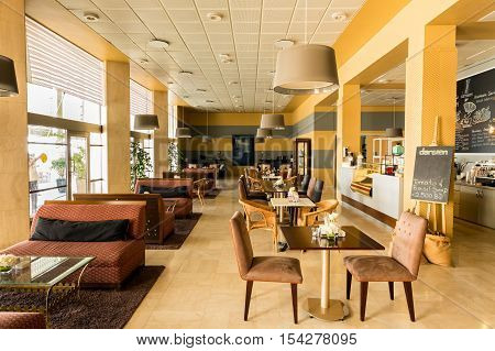 MANAMA, BAHRAIN - OCT 29, 2016: Interior view of the Coffee shop inside the Bahrain National Museum.
