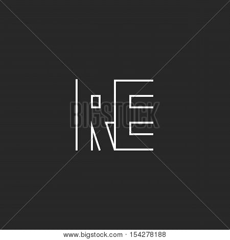 Logo Re Letters Monogram, Initials R E Symbol Together, Black And White Simple Thin Line Shape Emble