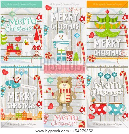 Merry Christmas - New Year Mini Posters Collection with Xmas Symbols - Santa Claus Snowman Toys Christmas Tree on White Wooden Background. Vector Illustration.