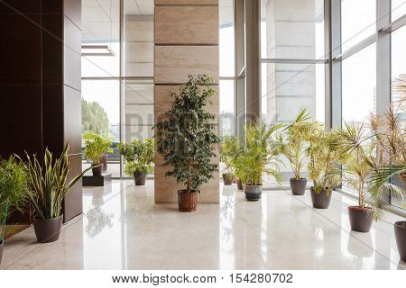 Office building lobby area. Office building modern design interior