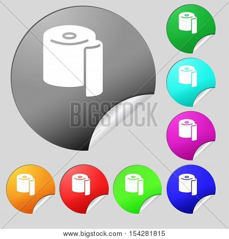 Toilet Paper Icon Sign. Set Of Eight Multi Colored Round Buttons, Stickers. Vector