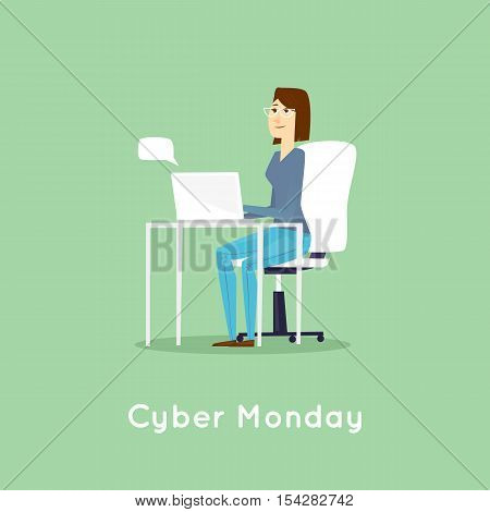 Cy-ber Monday. Girl makes a purchase via the Internet. Flat design vector illustration.