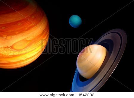 Three Planets In Space