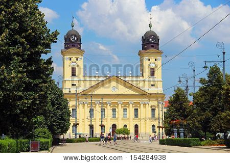 DEBRECEN, HUNGARY - JULY 1, 2016: Kossuth Ter, the central square of Debrecen with Reformed Great Church (Nagytemplom)