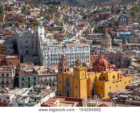 Skyline of Guanajuato with colorful buildings and Basilica of Our Lady in Mexico.