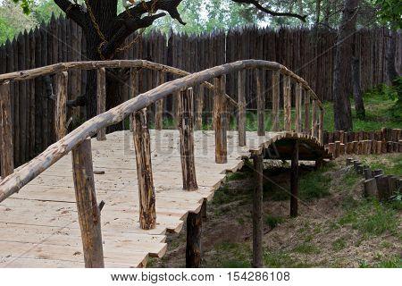 Humpback bridge in the forest. Park Hotel Russia Ulyanovsk