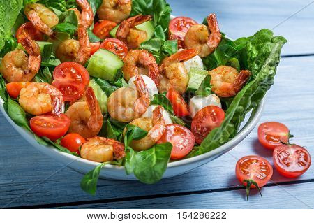 Closeup Of Salad With Vegetables And Shrimp
