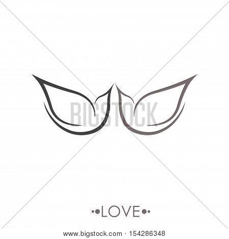stylized flying birds sign. hand drawn vector illustration