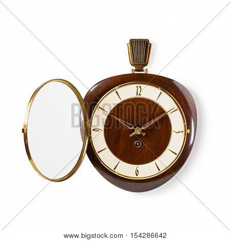 Retro old wall clock with opened glass lid isolated on white background. Design element. Single object with clipping path