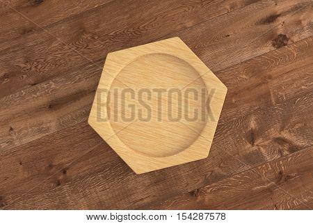Wooden coaster on wooden background.  3d render