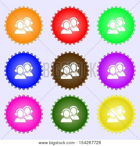 Call Center Icon Sign. Big Set Of Colorful, Diverse, High-quality Buttons. Vector