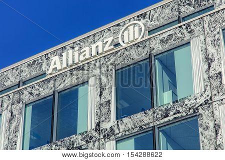 Wallisellen, Switzerland - 30 October, 2016: wall and windows of the Allianz Suisse building. Allianz Suisse is one of the major insurance companies in Switzerland, headquartered in Wallisellen.