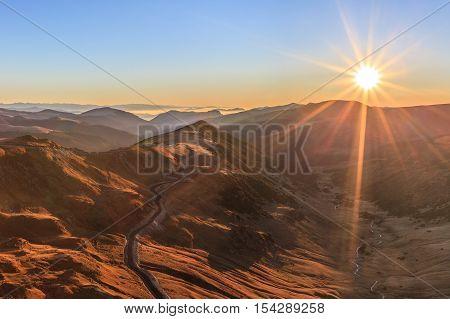 Transalpina road in Parang Mountains in Romania