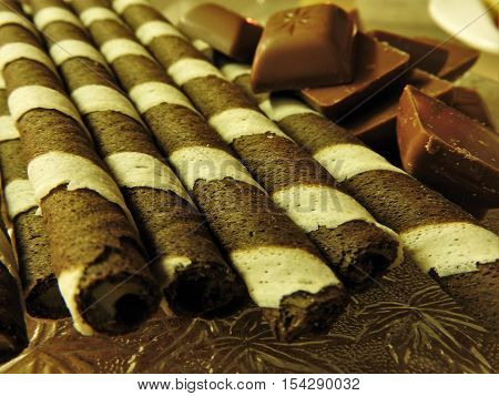 Chocolate and chocolate rolls, Striped tube and chocolate, very good chocolate.