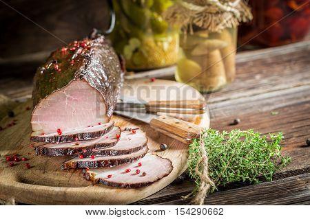 Freshly Smoked Ham In A Rural Pantry