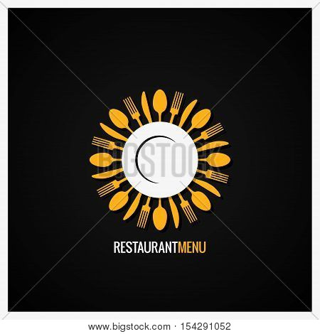 Food Logo. Fork And Knife With Spoon Label Background. 10 eps
