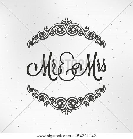 Mister and Mrs Wedding Logo Design Background. 10 eps