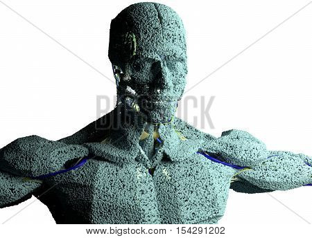 Human anatomy model sculpture made from small particles. Exaggerated cells or molecules of the human body building blocks. 3D illustration.