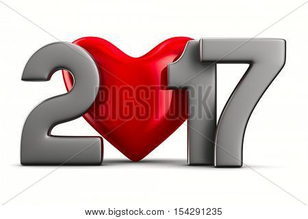 2017 new year. Isolated 3D image