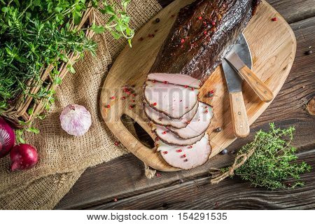 Fresh Smoked Ham In The Pantry With Herbs