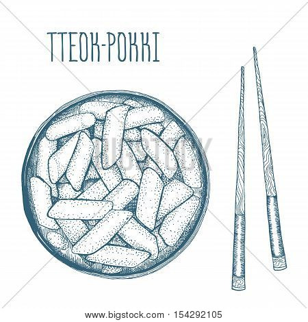 Tteokbokki Korean food. Vector illustration. Linear graphic.