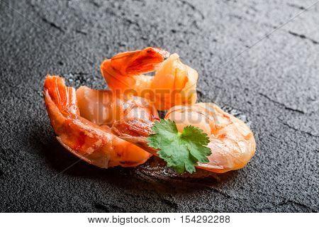 Closeup Of Fresh Seafood On A Black Stone