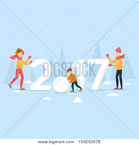 Family on the nature of the snow sculpting. Merry Christmas and Happy New Year. Flat design vector illustration.
