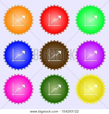 Chart Icon Sign. Big Set Of Colorful, Diverse, High-quality Buttons. Vector