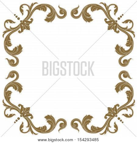 Golden frame, vintage frame, baroque frame,  scroll frame, engraving frame, floral frame, retro frame, antique frame, foliage frame, swirl frame, decorative frame, filigree frame, vector.
