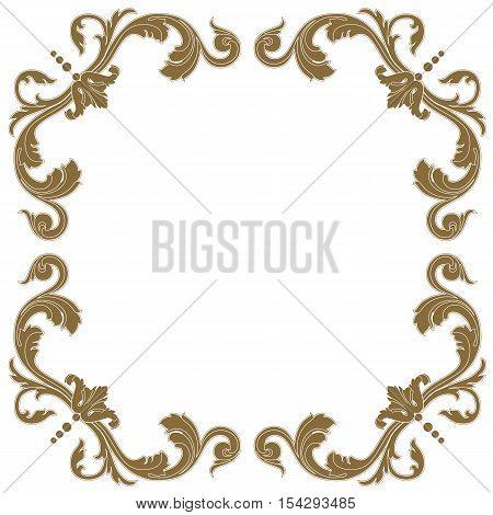 Golden frame, vintage frame, baroque frame,  scroll frame, engraving frame, floral frame, retro frame, antique frame, foliage frame, swirl frame, decorative frame, filigree frame, vector. poster