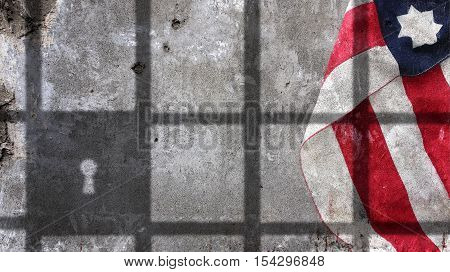Usa Flag Under Jail Bars on Concrete Wall