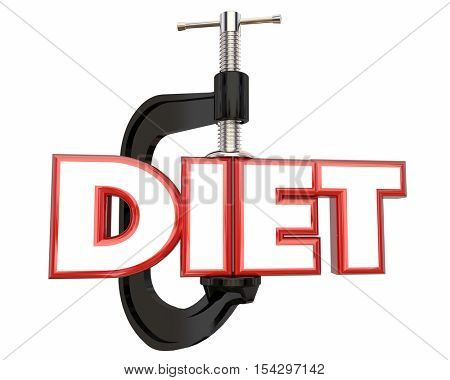 Diet Lose Weight Clamp Vice Word 3d Illustration