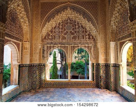 Decorated room inside Nasrid Palace in the complex of the Alhambra Granada Spain
